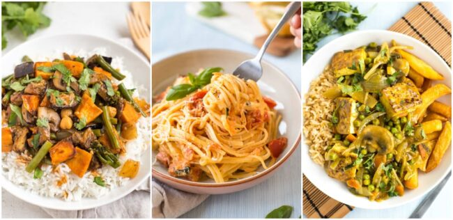 Collage showing red Thai curry, tomato and mascarpone pasta, and Chinese curry.