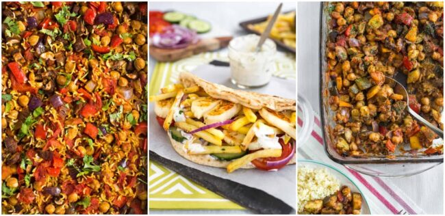 Collage showing chickpea curry and rice bake, vegetarian doner kebab, and baked ratatouille.