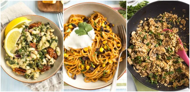 Collage showing Tuscan beans, enchilada noodles, and mushroom stroganoff.