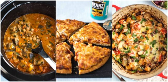 Collage showing slow cooker chickpea curry, baked bean pizza, and bean and potato bake.