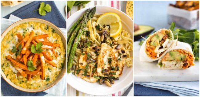Collage showing carrot dal, halloumi piccata, and avocado and halloumi wraps.