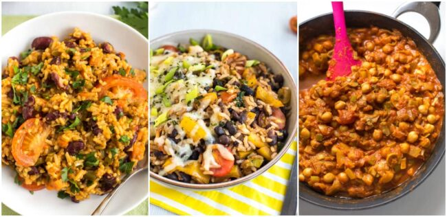 Collage showing vegan jambalaya, burrito bowls, and chickpea curry.