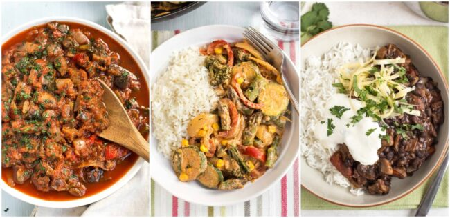 Collage showing slow cooker ratatouille, vegetable stroganoff, and black bean chilli.