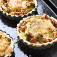 Smoked cheddar, walnut and broccoli tarts