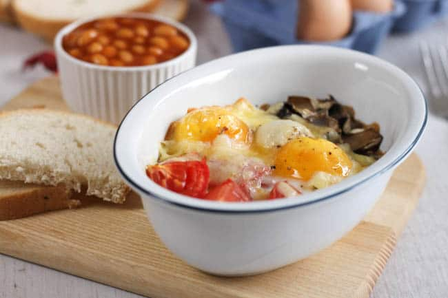 Full English breakfast baked eggs