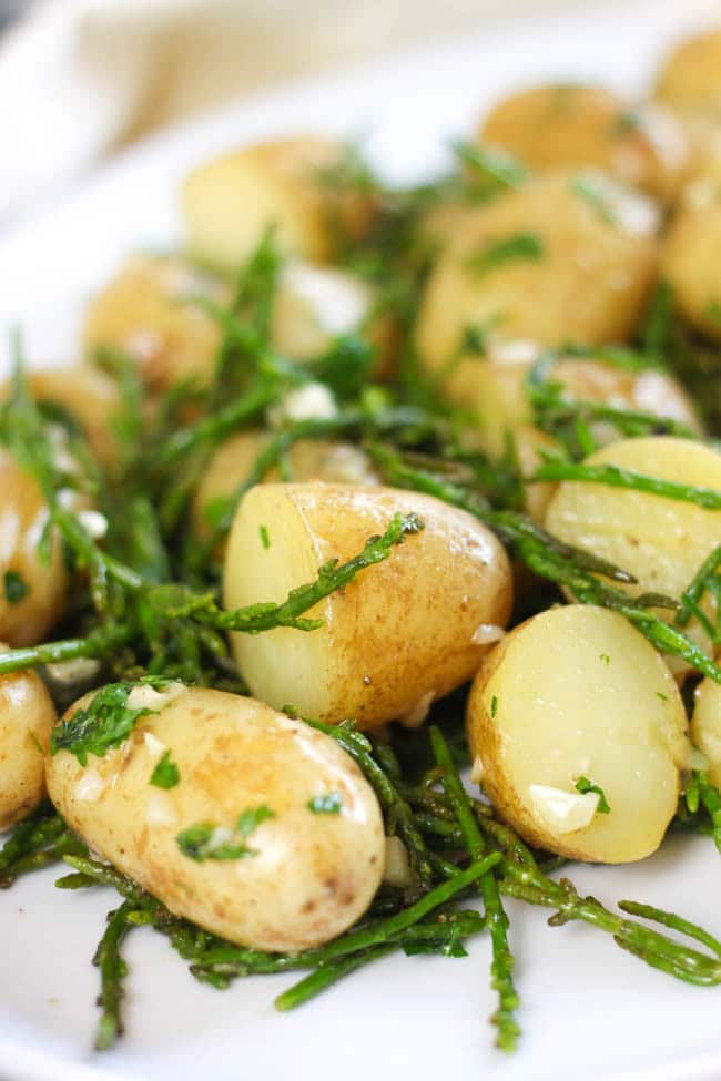 Hot and buttery samphire potato salad - salty, buttery, garlicky... the perfect potato salad!