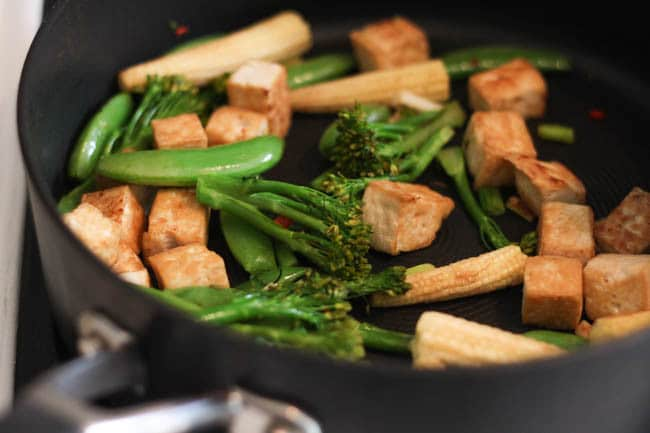 Red Thai satay tofu - this sauce is to die for! It's a cross between a spicy red Thai curry sauce and a creamy satay sauce made with peanut butter. Slather it on anything you like, I went for tofu!