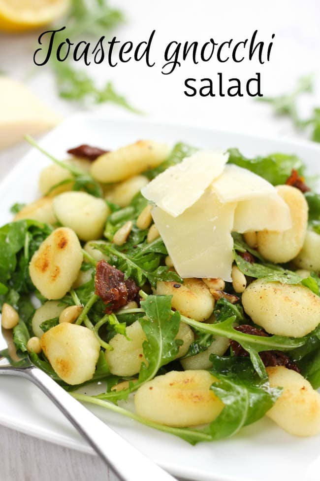 Toasted gnocchi salad with pine nuts and sun-dried tomatoes - this is a much lighter way to serve gnocchi, which can sometimes feel really heavy!