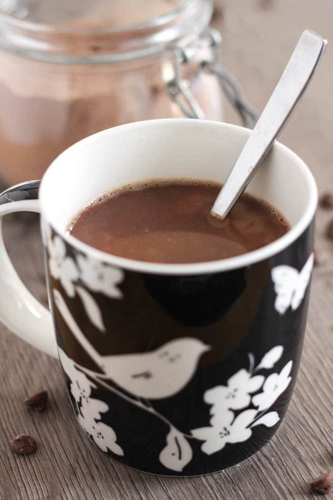 Homemade instant hot chocolate mix - you just need to add hot water, and you end up with a rich and creamy hot chocolate that's just as good as any made with milk (but with much less faff!).