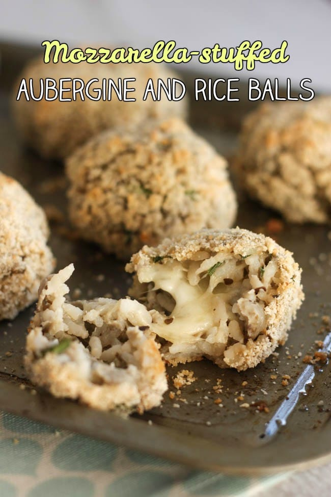 Mozzarella-stuffed aubergine and rice balls