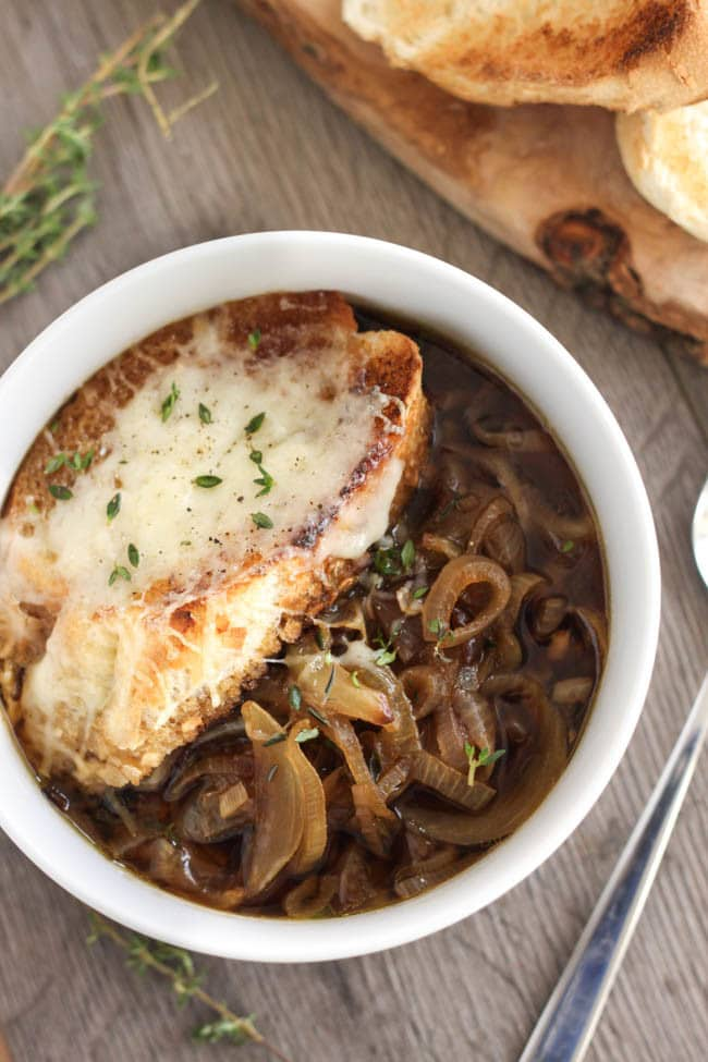 This French onion soup uses roasted onions to give a really deep and intense flavour. There's also a secret ingredient that brings it up another notch!