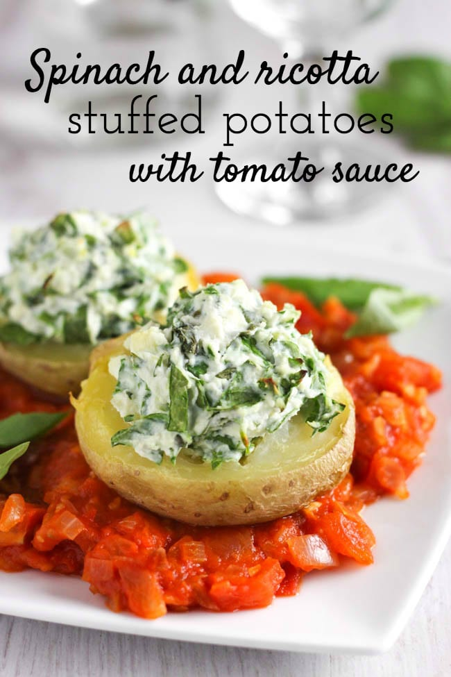 Spinach and ricotta stuffed potatoes, served on a rich tomato sauce. Why should potatoes always be served on the side? Make them the star of the show with this easy Italian-inspired dish. The crispy potatoes are so beautiful with the creamy ricotta topping!