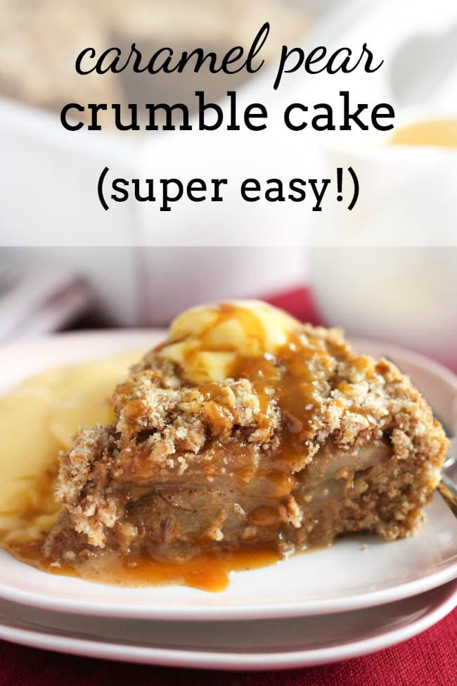 SUPER EASY caramel pear crumble cake - this cake is SOOO easy and tastes unbelievable! The crumble mixture can be pressed straight into the tin (no danger of it spilling out the bottom!), and just one mixture makes the cake underneath AND the crumbly topping, so there's no faff. This cake is impossible to mess up!