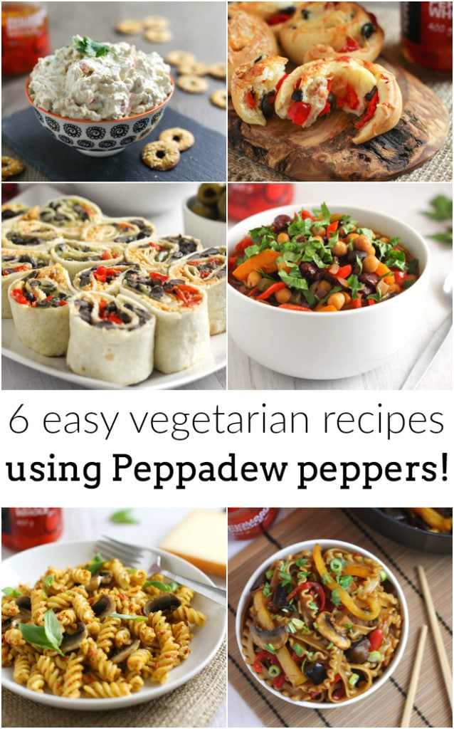 6 easy vegetarian recipds using Peppadew peppers! These sweet and spicy peppers are super versatile - you don't have to just eat them on salads!