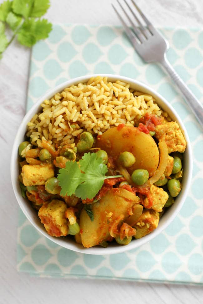 Simple pea and potato curry, with Quorn chunks to add healthy, low calorie protein. You don't need a fully stocked kitchen for this curry - it's so simple and easy to make!