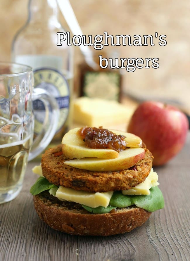 Ploughman's burgers - all the amazing flavours of a traditional British ploughman's, on a burger!