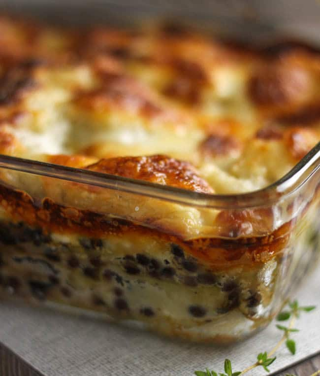 Puy lentil lasagne with creamy goat's cheese sauce