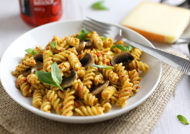 Spicy peppadew pesto pasta. Forget sun-dried tomato pesto - this spicy Peppadew pesto is sweeter, spicier, and all-round more tasty! It's also quick and easy to make (a 20 minute meal!), and totally vegan!