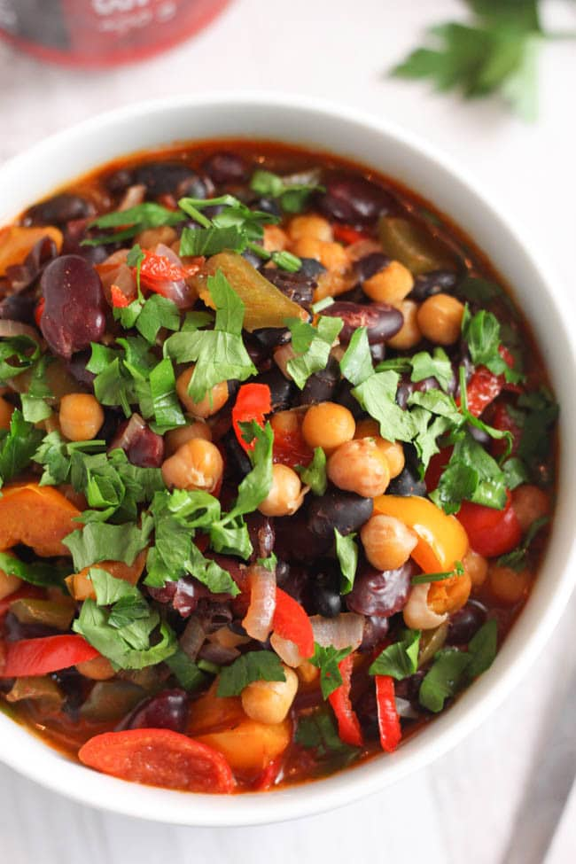 Spicy three bean soup, with a secret ingredient to make it extra tasty!