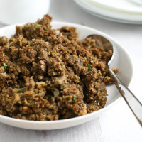 Mushroom and chestnut vegetarian stuffing