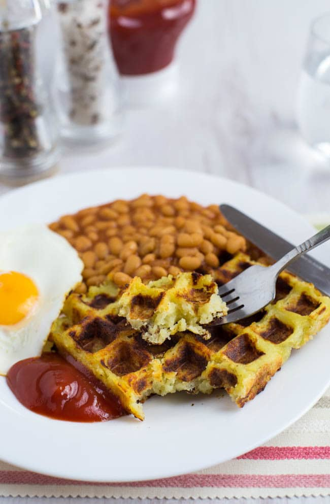 Homemade potato waffles - these childhood favourites are crisp on the outside, and fluffy in the middle! Unlike the shop-bought version, you can decide exactly what goes into them - I used garlic powder and they were seriously tasty! Vegetarian and vegan too :)