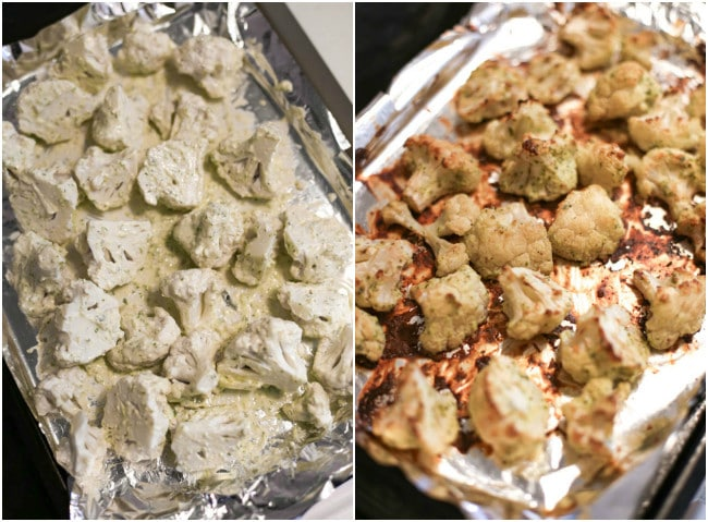 Marinated roasted cauliflower with herby yogurt sauce - simple, healthy, and super tasty :) It's the perfect healthy vegetarian recipe to see in the new year - plus it's gluten-free and easily made vegan too!