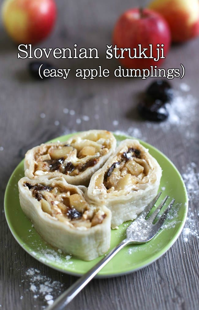 Slovenian štruklji is a really easy dessert - boiled dumplings rolled up with tasty spiced apples, prunes or raisins, and cottage cheese. This is a hugely popular dish in Slovenia but it's really easy to make at home too!