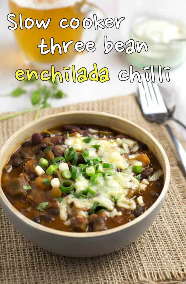 Slow cooker three bean enchilada chilli - this will be my go-to chilli recipe from now on! The secret ingredients make it really tasty, and I love that it can be thrown straight into a slow cooker. Best chilli I've ever made!