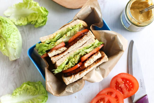 Tofu bacon BLTs - this tofu bacon is SO good! Smoky, spicy, sticky, sweet... and it's easy to make too! Perfect served in a classic BLT sandwich :) Tofu bacon is vegan and gluten-free.