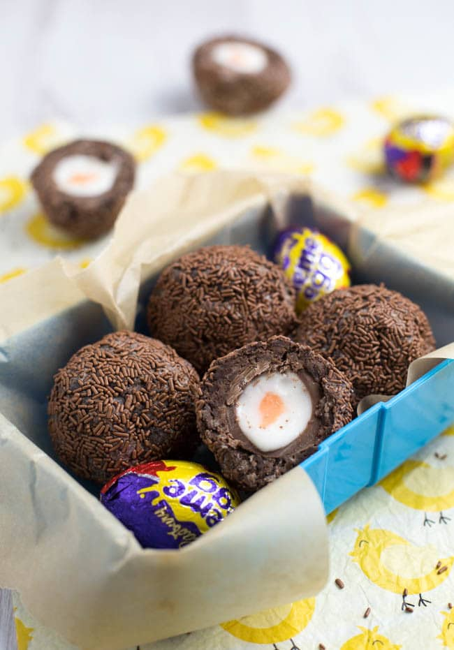 A lunchbox filled with Scotch Creme Eggs - Cadbury Creme Eggs coated in brownie and sprinkles.