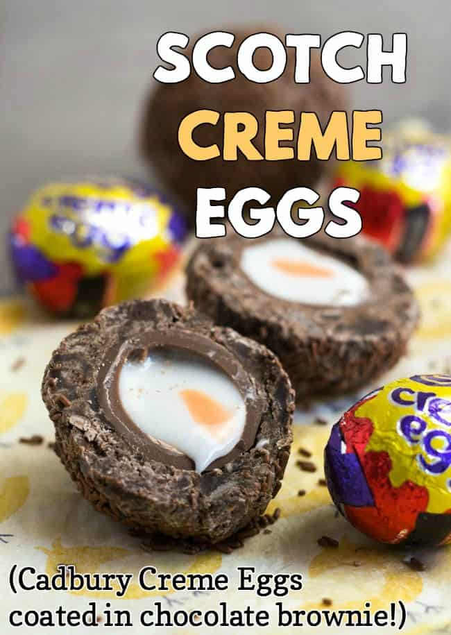 A Scotch Creme Egg, cut in half, coated in chocolate brownie and sprinkles.