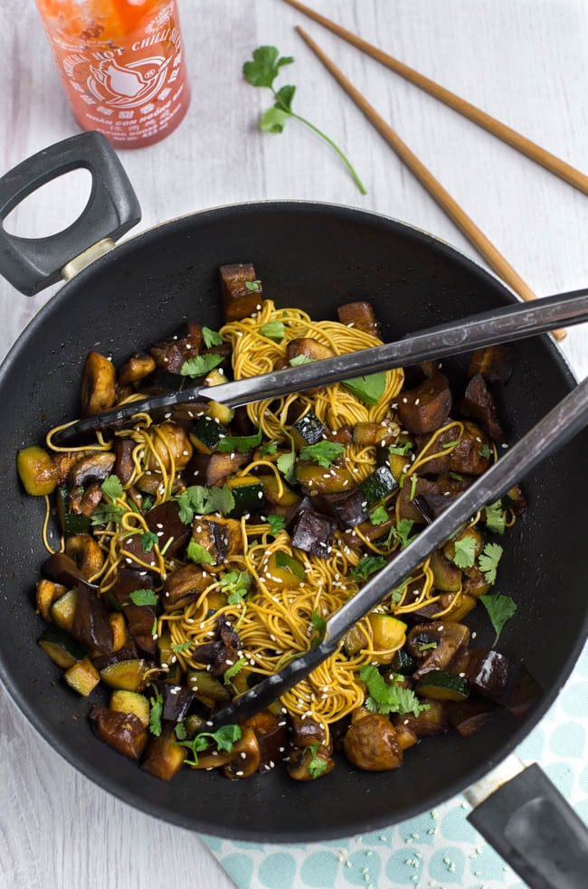 Sweet and spicy honey sriracha stir fry - it's sweet, it's spicy, it's salty, it's unbelievably delicious! Choose veggies that soak up the sauce, and serve with noodles or rice. Vegetarian, and easily made vegan!