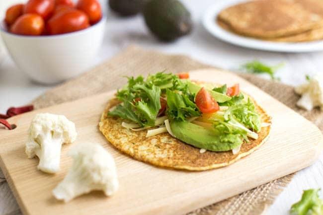 Low-carb cauliflower tortillas
