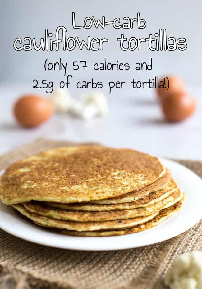 Low-carb cauliflower tortillas. These are a revelation! They're low calorie, low carb, and somehow still delicious :) Perfect for making low-carb tacos or lunch wraps.