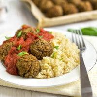 Mediterranean lentil meatballs with tomato sauce