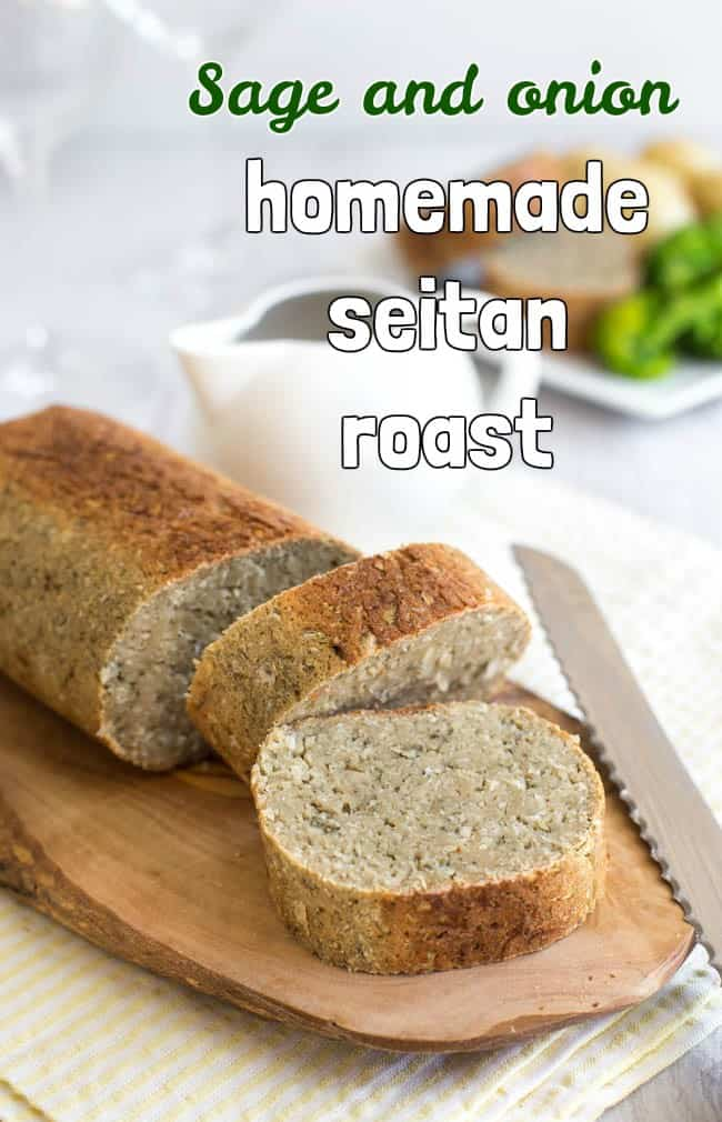 Sage and onion homemade seitan roast. Homemade seitan was much easier to make than I thought it would be! This easy roast is absolutely perfect for a vegetarian or vegan roast dinner with lashings of gravy!