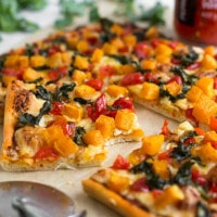 Spicy butternut squash pizza with crispy kale