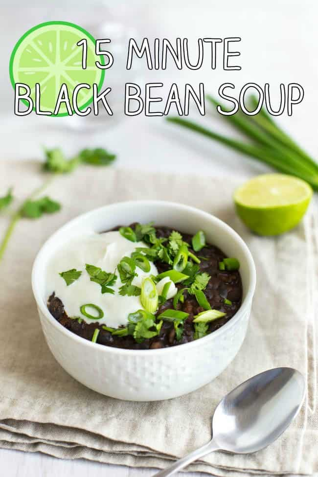15 minute black bean soup - this is such a quick and easy recipe! It's healthy too, and makes one perfect portion - just the thing to whip up when you're home alone! Vegetarian, vegan and gluten-free.