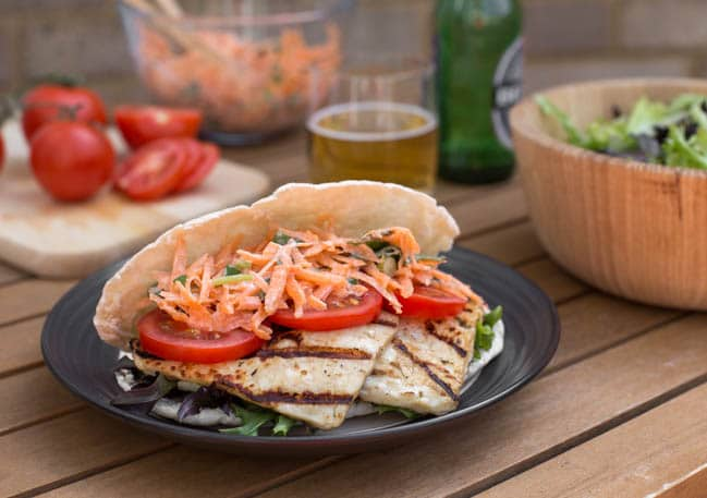 Balsamic halloumi pittas with carrot slaw - cooked on the BBQ! Who says vegetarian barbecues are boring?!
