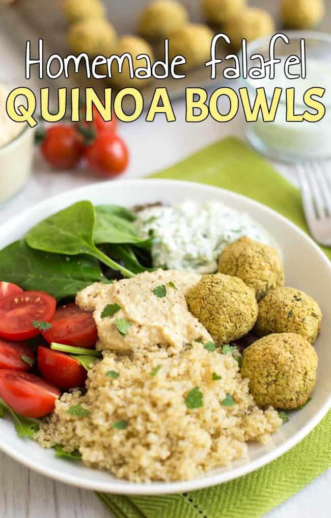 Homemade falafel quinoa bowls