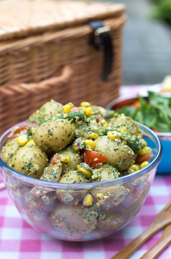 Mint and pistachio pesto potato salad - no mayo! This vegetarian ...