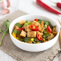 Spicy veggie laksa with crispy tofu