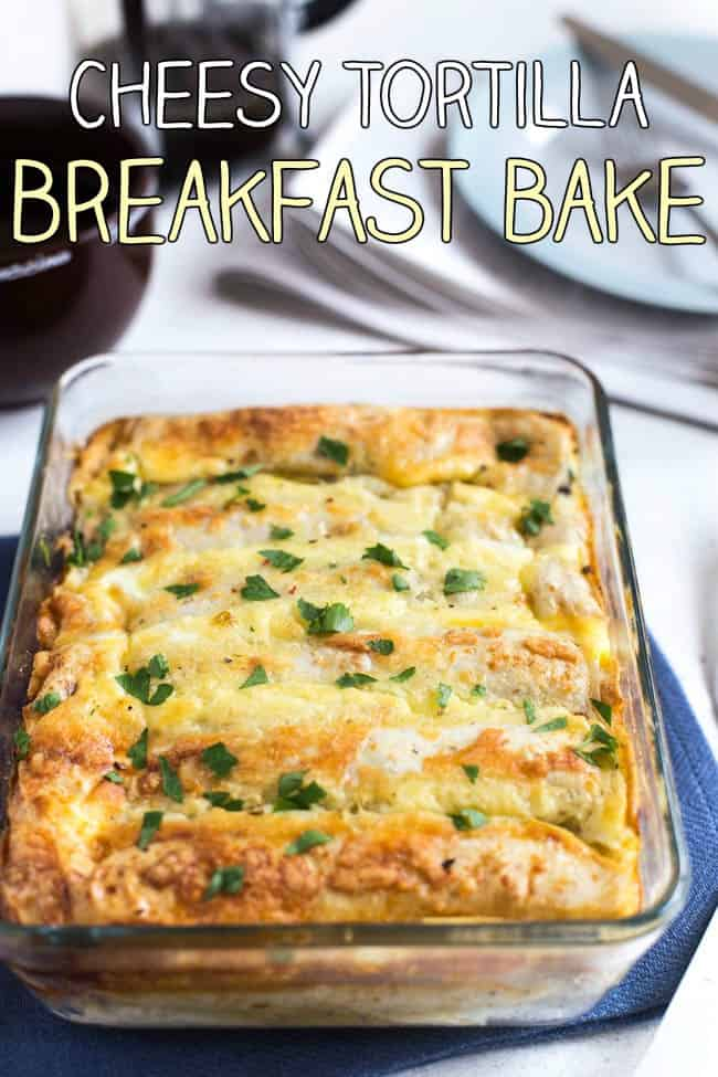 Cheesy tortilla breakfast bake - veggies, eggs and wholewheat tortillas. An easy and healthy make-ahead vegetarian breakfast!