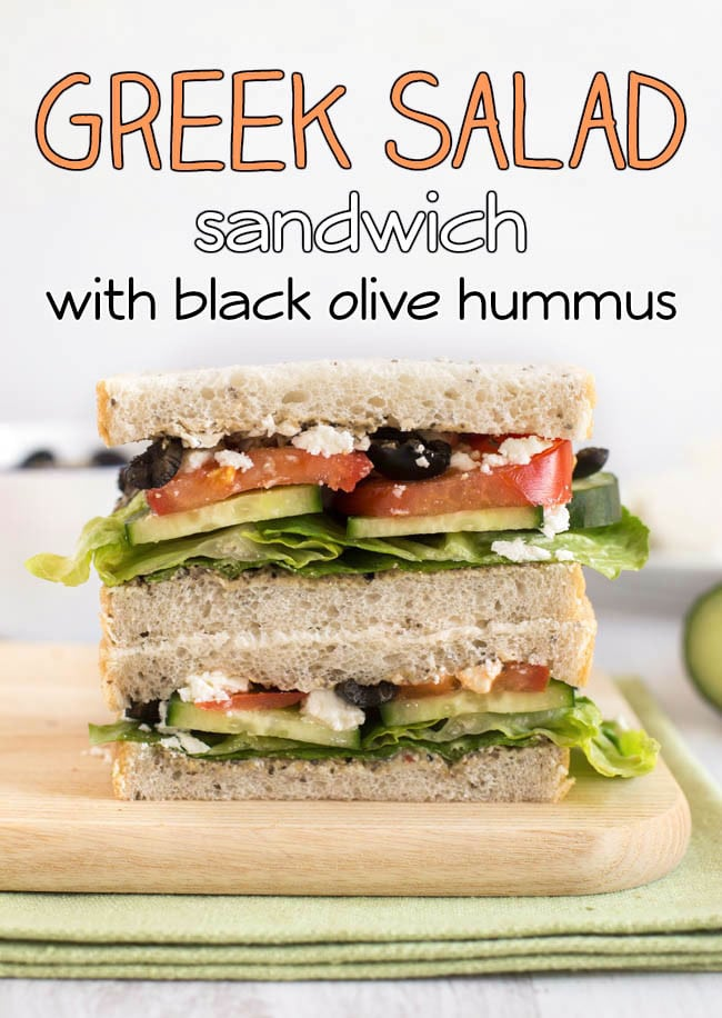 Greek salad sandwich - all the best parts of a Greek salad, in sandwich form! Black olives, feta cheese, cucumbers, tomato... and an easy homemade black olive hummus!