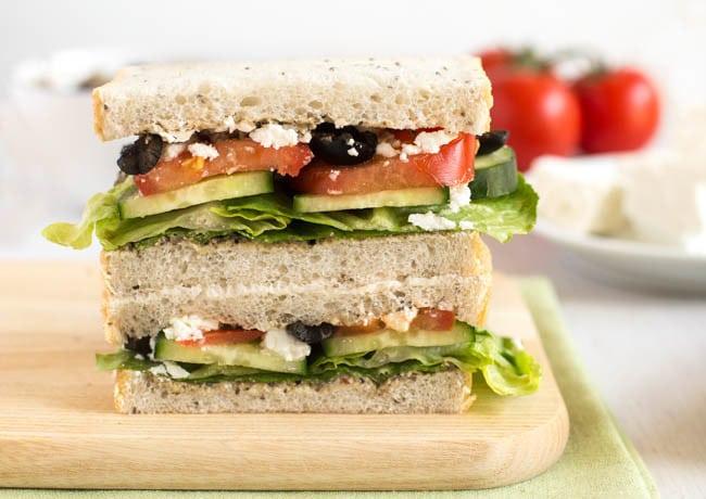 Greek salad sandwich with black olive hummus