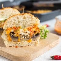 Halloumi and portobello burgers with homemade peri peri sauce