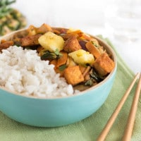 Pina colada tofu bowls with coconut rice
