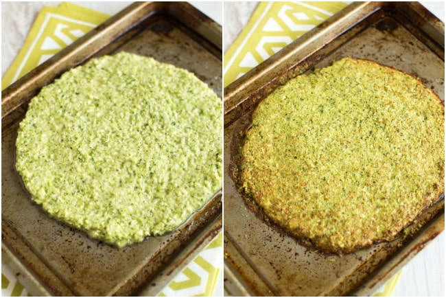 This low-carb broccoli pizza crust is so easy to make, and makes a brilliant alternative to a bread-heavy pizza! You can pick the slices up with your hands and everything! Gluten-free and vegetarian.