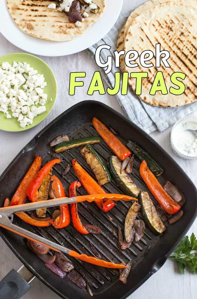 Greek fajitas - easy vegetarian fajitas, made Mediterranean with balsamic vinegar, feta cheese and a herby yogurt dressing. Quick and delicious!