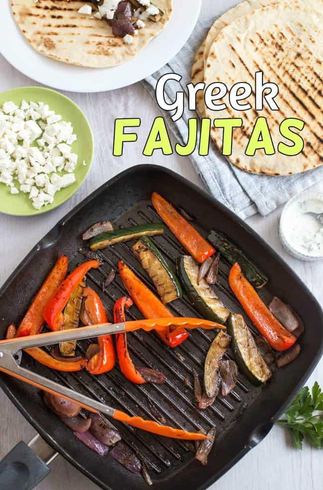Greek fajitas - easy vegetarian fajitas, made Mediterranean with balsamic vinegar, feta cheese and a herby yogurt dressing. Quick and delicious!